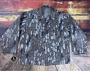 VTG Mens XL TREBARK Lightweight Cotton Button Shirt Jacket Camo Hunting Archery