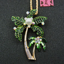 Green Pearl Coconut Tree Charm Crystal Betsey Johnson Pendant Sweater Necklace