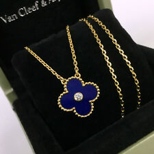 Van CLEEF & ARPELS VCA YG LAPISLAZZULI VINTAGE ALHAMBRA Collana con pendente di diamanti