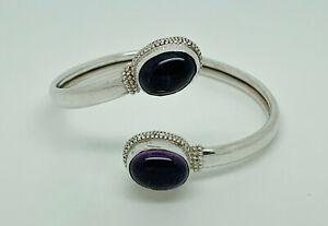 """Gorgeous Vintage Studio Sterling Silver Amethyst Sprung Bangle Bracelet 6.5"""""""