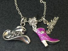 "Western Cowgirl Purple Boots Charm Tibetan Silver 18"" Necklace"