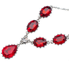 19.25 Ct Pear & Oval Cut Shape Red Garnet / Ruby 18K White Gold Plated Necklace