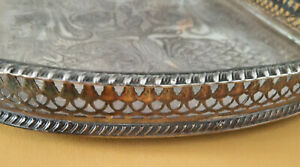 Old Sheffeld Plate Gallery Serving Tray Viners Silver