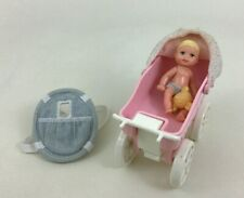 "Barbie Happy Family Baby Krissy 3"" Jointed w Tiny Steps Kelly Stroller 1998 A9"