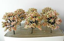 6 x PINK WHITE BLOSSOM MODEL TREES 10 cm SCENERY FOR MODEL RAIL HO / OO SCALE