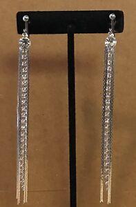 LONG GLITZY SILVER CHAIN DROP Channel Set Crystal Tassel TENNIS CLIP ON EARRING