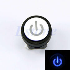 Blue Led Light Power Symbol Push Button Momentary Latching Computer Case Switch