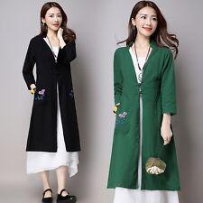 Ethnic Women Coat Cotton Linen Printed Button Long Cardigan Robe Gown Outwear