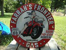 VINTAGE 1959 FRONTIER GAS ROUTE 66 GASOLINE STATION PORCELAIN DEALER SIGN KANSAS
