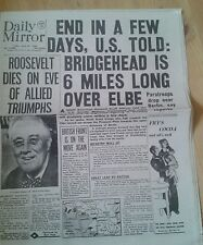 Daily Mirror NEWSPAPER-WW2-Apr 13th 1945-Roosevelt dies on eve of Allied victory