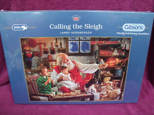 Gibsons 2000 Piece Jigsaw Puzzle Calling The Sleigh  . Hard To Find