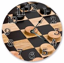 "10.5"" CHECKERS GAME BOARD CLOCK - Large 10.5"" Wall Clock - Home Décor Clock 3176"