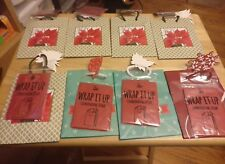 CHRISTMAS HOLIDAY SMALL GIFT BAGS/TISSUE PAPER LOT OF 8-- 4.5 X 5.5 (3 DIFF DE