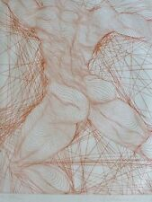 """Guillaume Azoulay """" Titan """" 1977 HAND SIGNED Etching nude male  Moroccan Artist"""