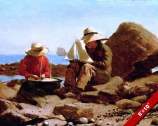 YOUNG BOYS BUILDING MODEL BOATS TOYS ON THE COAST PAINTING ART REAL CANVAS PRINT
