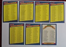 Set of 7 1986 Donruss Baseball Cards Unmarked Checklist w/ Diamond King CL