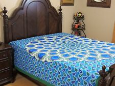 Blue Green Peacock Feather Cotton Bedding Indian Wall Tapestry Bed Sheet ~ Full
