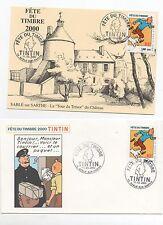 Timbre TINTIN. Fête du Timbre 2000 2 enveloppes avec cachet 11.03.2000