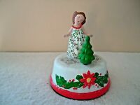 """Vitg. Little Girl Standing In Front Of Xmas Tree Music Box Plays """" Here Comes"""