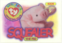 TY Beanie Babies BBOC Card - Series 1 Original 9 (GOLD) - SQUEALER the Pig -NM/M