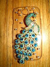SAMSUNG GALAXY S3 BACK COVER/CASE 3D PEACOCK WITH EMERALD & TURQUOIS STONES NEW