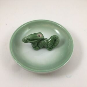 Japanese Stick Incense Burner Stand Holder Plate Dish Ceramic Green RYU Dragon