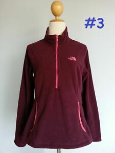 6688 The North Face 1/2 Zip Jacket Soft Fleece Floral Sweatshirt Women Red S M L