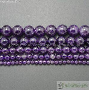 "Grade A Natural Amethyst Gemstone Round Beads 2mm 3mm 4mm 6mm 8mm 10mm 12mm 16"""