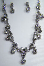 LOVELY BRIDAL NECKLACE AND PIERCED EARRINGS WITH CLEAR SWAROVSKI CRYSTALS