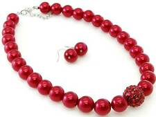 Red Glass Faux Pearl Pave Crystal Ball Bead Necklace Earring Set