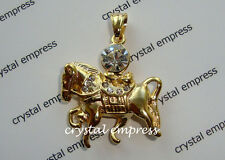 Feng Shui - Gold Wind Horse Carrying Treasures Pendant (Stainless Steel)