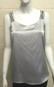 Women Ladies ex M&Co silver cami with bead shoulder straps