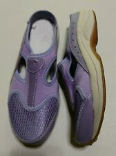 Easy Spirit - ladies purple leather Eswaterfall slip-on mules - size 7