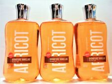 3 Bath & and Body Works APRICOT SIGNATURE VANILLA Shower Gel Body Wash NEW 10 OZ