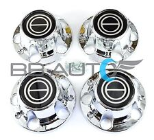 1980-1996 FORD F150 BRONCO VAN CHROME CENTER CAPS HUBS SET BLACK CENTER NEW