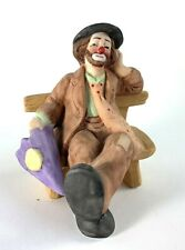 Emmett Kelly Jr Figurine Flambro Sitting on Bench with Purple Umbrella