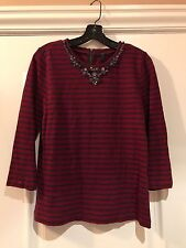 J.CREW Maroon/Blue Striped Necklace Top M