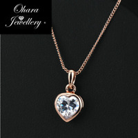 18K Rose Gold Plated Cubic Zirconia CZ Heart Chain Pendant Necklace Jewellery