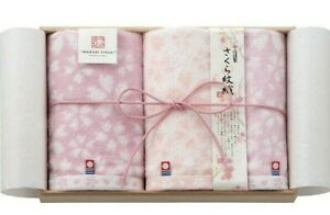 IMABARI KINSEI Sakura Monori Wash&2pcs Face Towel Wood Box set Made in Japan New