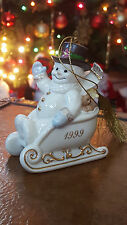 Lenox Snowman on Sleigh Ornament 1999 - 24 Kt. Gold Trim
