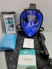 Odoland 4-in-1 Snorkeling Packages, Full Face Snorkel Mask Adjustable Swim Large