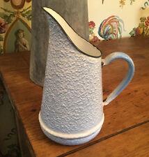 French Enamelware Graniteware Blue & White Antique Vintage Pitcher Jug w Handle