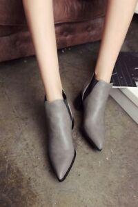 Vogue Retro Womens Leather Chelsea Pointy Toe Shoes Ankle Boots Cuban Heels