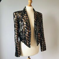River Island Black Gold Bronze Sequin Cropped Tuxedo Jacket 8 Evening Occasion