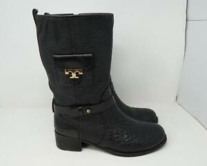 Tory Burch Leona Calf High Boots Leather Black Women's US Size 9M