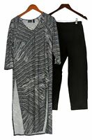 Women With Control Set Sz S Printed Tunic With Crop Pants Black A379886