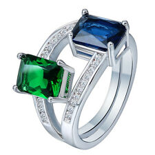 Nice Women Jewelry Sapphire Emerald Gemstone 925 silver Ring Size6 M559