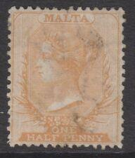 Malta - 1863/81, 1/2d Buff - Wmk Crown CC - Perf 14 - Used - SG 6 or 8