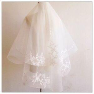 BNWT 2Tier 3D Lace Horsehair Crinoline Trim Bridal Wedding Veil Ivory Champagne