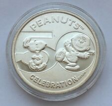 CHARLIE BROWN SNOOPY LUCY 2000 PEANUTS 50TH ANNIVERSARY 999 SILVER COIN